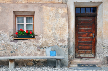 Front of house in italian village