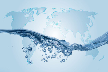 Clear, blue splashing water on white isolated with world map