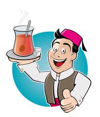 türkischer tee servieren mann freundlich