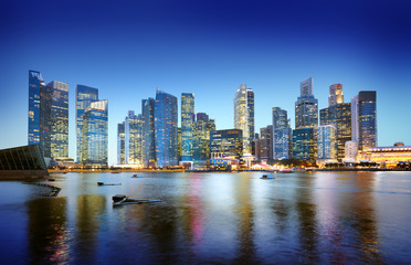 Cityscape Singapore Panoramic Night Concept