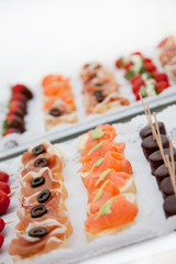 Variety of Canapes on Appetizer Trays