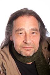 Close up Long Hair Smiling Adult Man