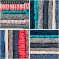 Collage from Knitted Color Clothes in stack