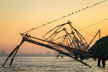 Chinese fishing net at sunrise in Cochin (Fort Kochi), Kerala, I