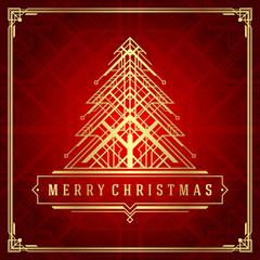 Christmas tree art deco style vector background