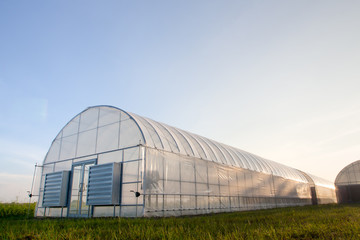 New greenhouses with blue sky
