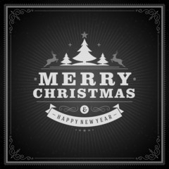 Christmas retro greeting card and ornament vector background