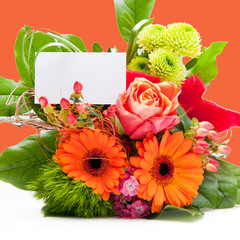 Bouquet of Fresh Flowers with White Blank Tag
