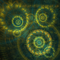 Teal and yellow abstract circle fractal
