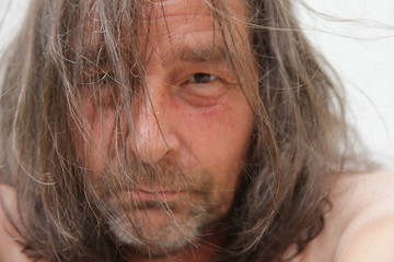 Close up Old White Man with Long Tangled Hair