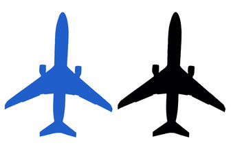Black and blue aircraft icon isolated on white background