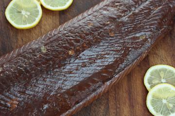 Piece of smoked salmon.