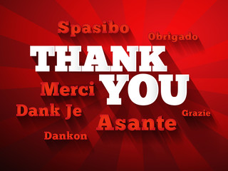 Thank You Word Cloud in different languages, presentation