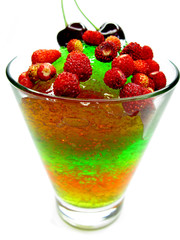 fruit jelly dessert with strawberry