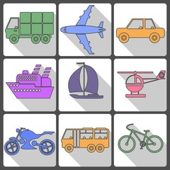 Transport Icons Collection. Vector illustration.