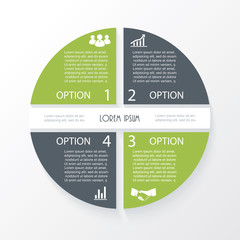 Business concept design with circle 4 segments. Infographic