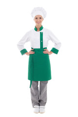 happy chef woman in uniform - full length isolated on white