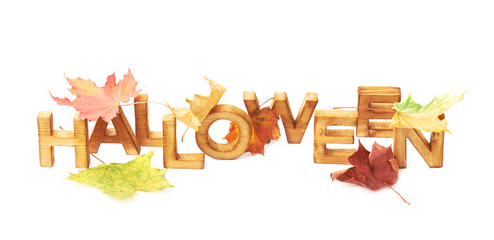 Word Halloween composition isolated