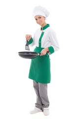 woman chef in uniform holding frying pan - full length isolated