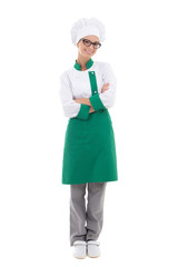 woman chef in uniform - full length posing isolated on white