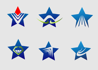 Collection star logo icon element set