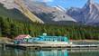 Boats on Maligne Lake in Jasper natioanal park, Alberta, Canada