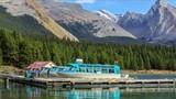Boats on Maligne Lake in Jasper natioanal park, Alberta, Canada poster