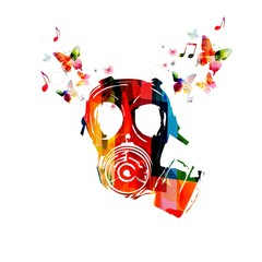 Colorful army gas mask design