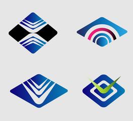 Rhombus logo element set