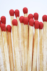 Set of red matches isolated on white background.