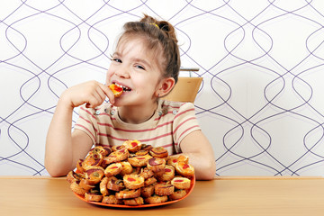 hungry little girl eat bruschette