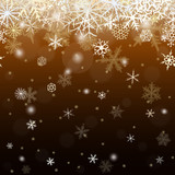 Seamless  pattern from snowflakes on dark  brown background.
