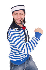 Funny sailor isolated on the white
