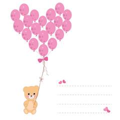Heart balloons with teddy bear greeting card