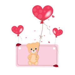 Flying heart balloon with teddy bear and ladybird background