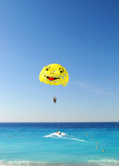 Parachute with smil in sky ((Good mood, stuffy rise - concept)