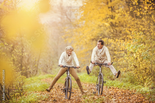 Poster Active seniors ridding bike and having fun