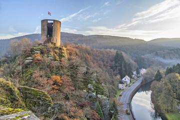 Tower of the abandoned castle Esch-sur-Sure