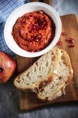 Muhammara red bell pepper dip like ajvar relish