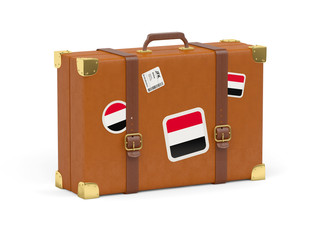 Suitcase with flag of yemen