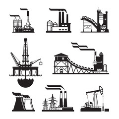 vector black factory icons set on gray