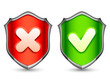 Color security shields with check symbols.