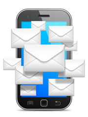 Mobile phone and group of white envelopes.
