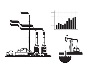 oil and gas. Factory icons