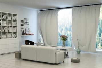 Comfortable living room overlooking a garden