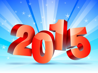 2015 New year numbers on bright winter background.