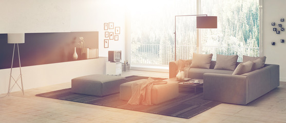 Architectural Living Room Reflected by Sunlight