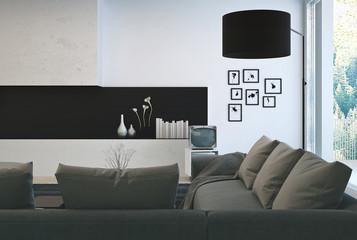 Gray Sofa on Elegant Lounge Room
