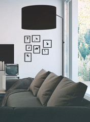 Living room with gray couch and black lamp shade