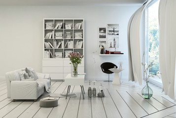 Compact modern white living room interior